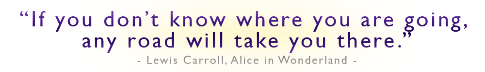 If you don't know where you are going, any road will take you there Lewis Carroll, MCAT prep