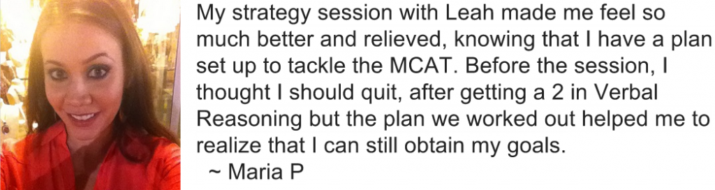 Maria MCAT Strategy Session Bootcamp feedback review Leah4sci Leah Fisch