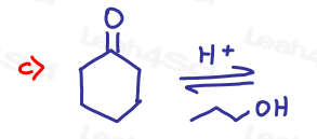 Cyclohexanone with propanol in Acetal Practice Quiz by Leah4sci