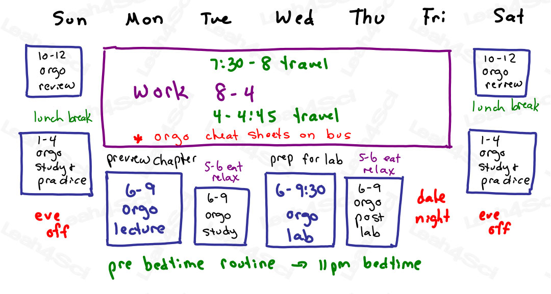 Organic Chemistry Study Schedule while full time job by Leah4sci