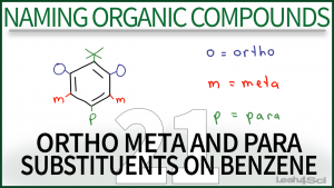 Nomenclature Ortho Meta Para Substituents Benzene Video Leah Fisch Organic Chemistry