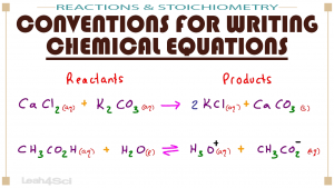 Conventions for Writing Chemical Equations MCAT General Chemistry by Leah4sci