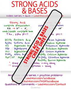 Strong acid and base cheat sheet organic chemistry MCAT Leah4sci