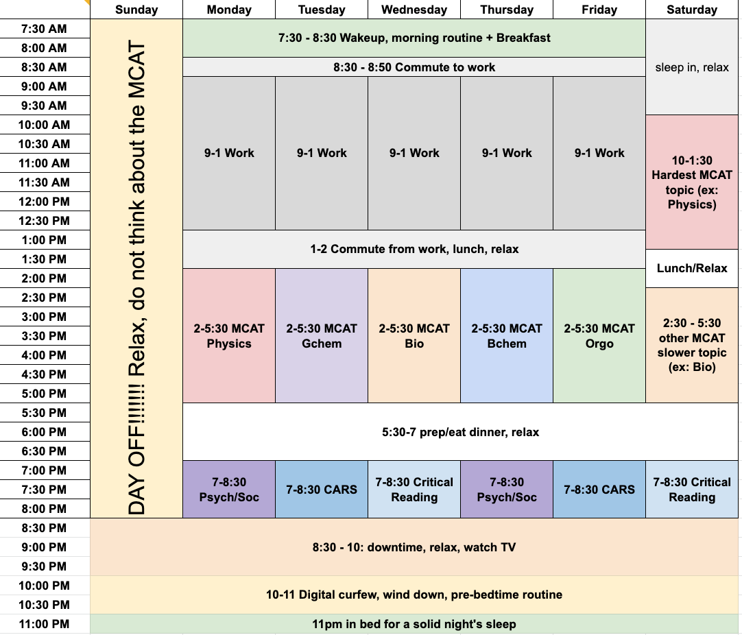 Sample schedule week for 6 month MCAT study plan by leah4sci