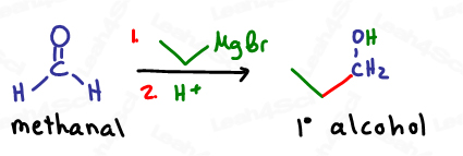 Methanal reacting with Grignard yields primary alcohol