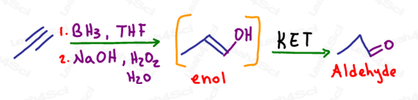 KET in Hydroboration of alkynes with terminal enol intermediate and aldehyde product by Leah4sci