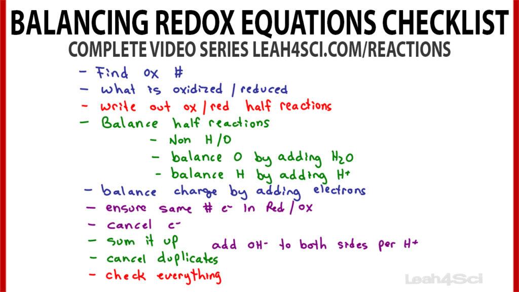 Balancing Oxidation Reduction Equations Checklist Leah4sci