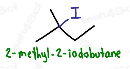 2-methyl-2-iodobutane naming halogens
