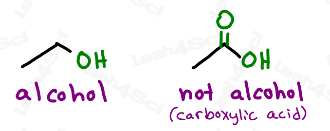 Alcohol versus carboxylic acid OH group