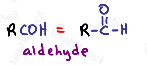 Drawing aldehydes RCOH