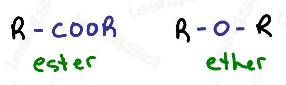 Ester versus ether RCOOR ROR