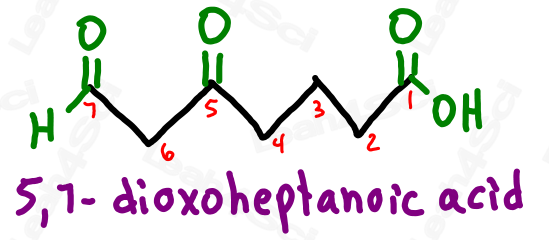 Naming aldehyde and ketone substituents 5,7-dioxoheptanoic acid