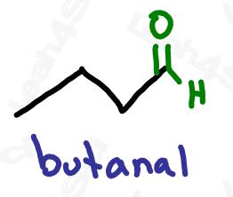 Naming aldehydes butanal example
