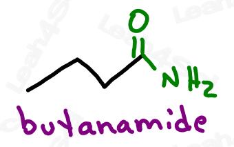 Naming amide example butanamide