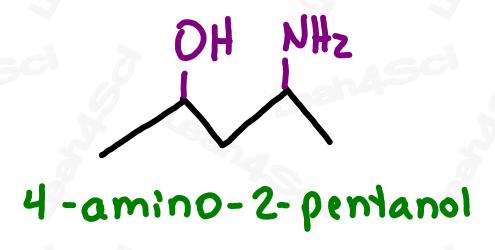 Naming amine substituents 4-amino-2-pentanol