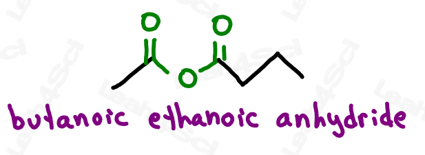 Naming anhydride example butanoic ethanoic anhydride