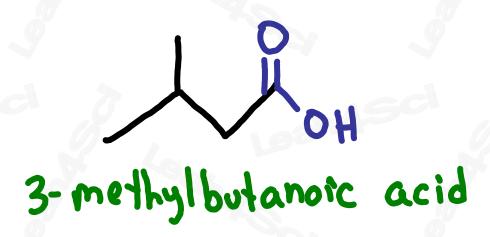 Naming carboxylic acid example 3-methylbutanoic acid