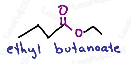 Naming ester example ethyl butanoate