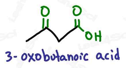 Naming ketone substituent 3-oxobutanoic acid