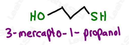 Naming mercapto groups 3-mercapto-1-propanol