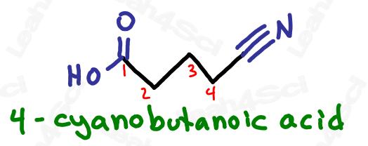 Naming nitrile substituents example 4-cyanobutanoic acid