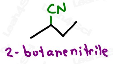 Naming nitriles example 2-butanenitrile