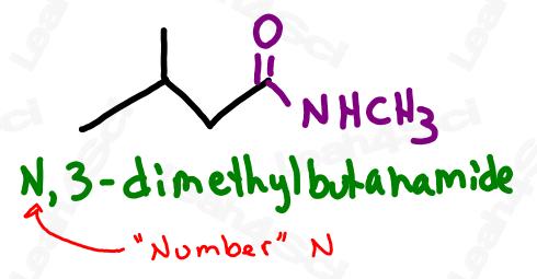 Naming substituted amide example N,3-dimethylbutanamide