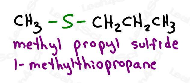 Naming thioethers methyl propyl sulfide 1-methylthiopropane