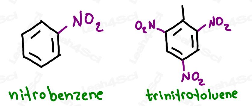 Nitrobenzene and trinitrotoluene molecular structure