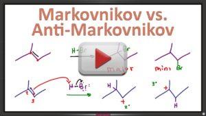 Markovnikov vs Anti-Markovnikov in Alkene Addition Reactions by Leah4sci