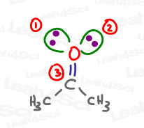 double bound oxygen is sp2 hybridized with lone pairs